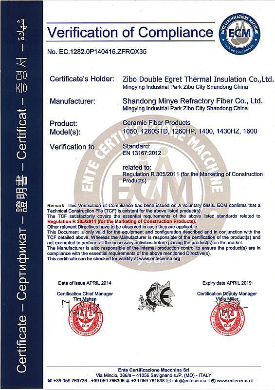 CCEWOOL ceramic fiber products got CE certified